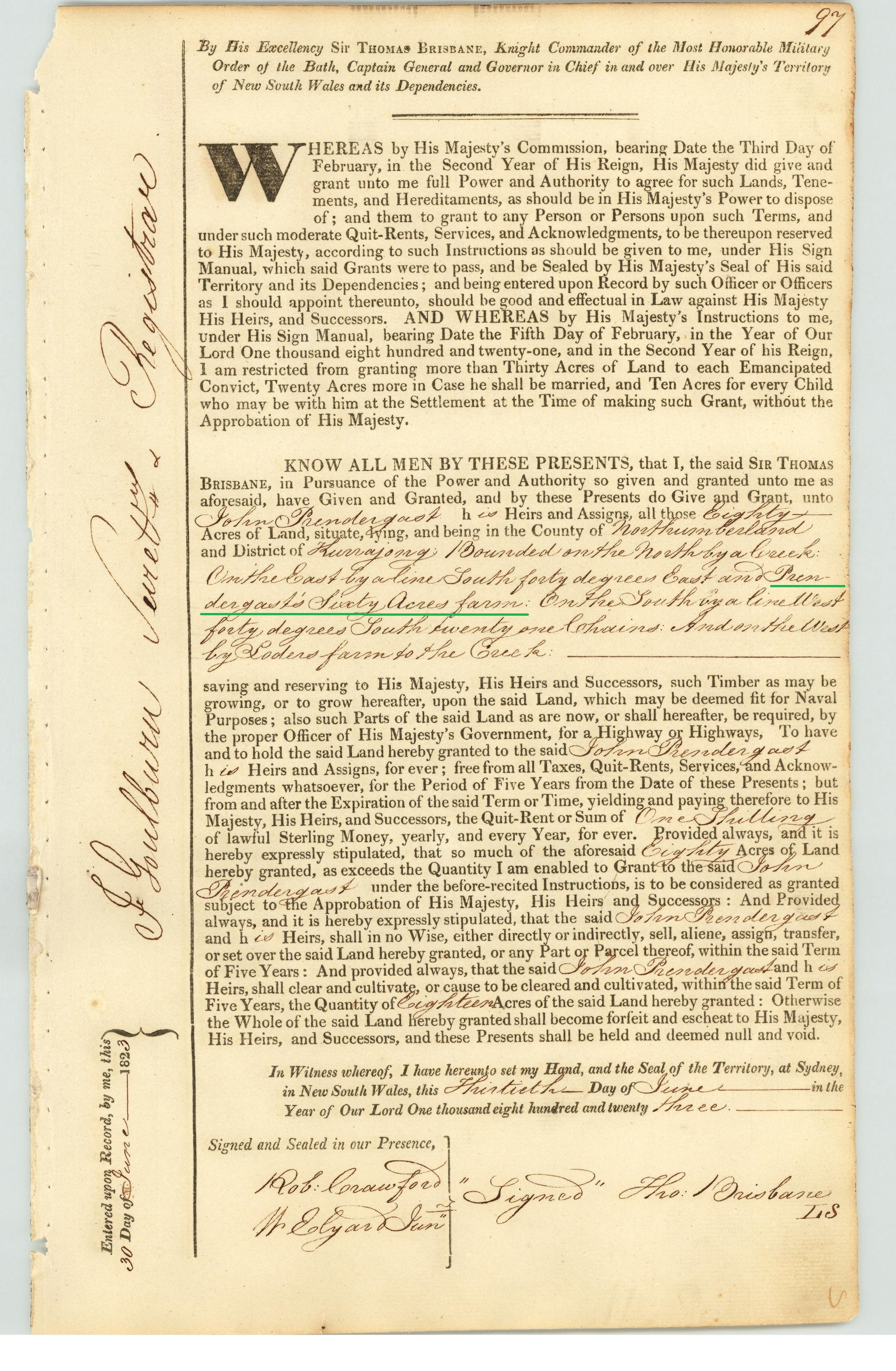 John Prendergast land register